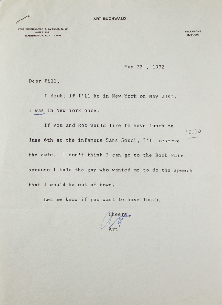 "Typed note signed (""Art""), to Putnam's editor William Targ, arranging a lunch date. Art Buchwald."