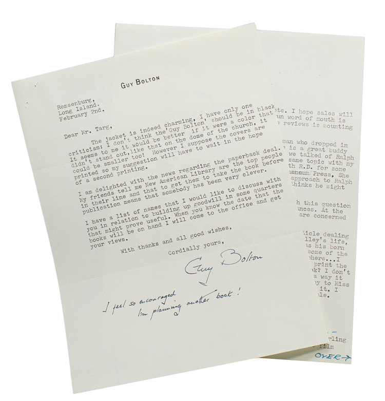 "2 typed letters signed (""Guy Bolton"") to World Publishing editor William Targ. Guy Bolton."