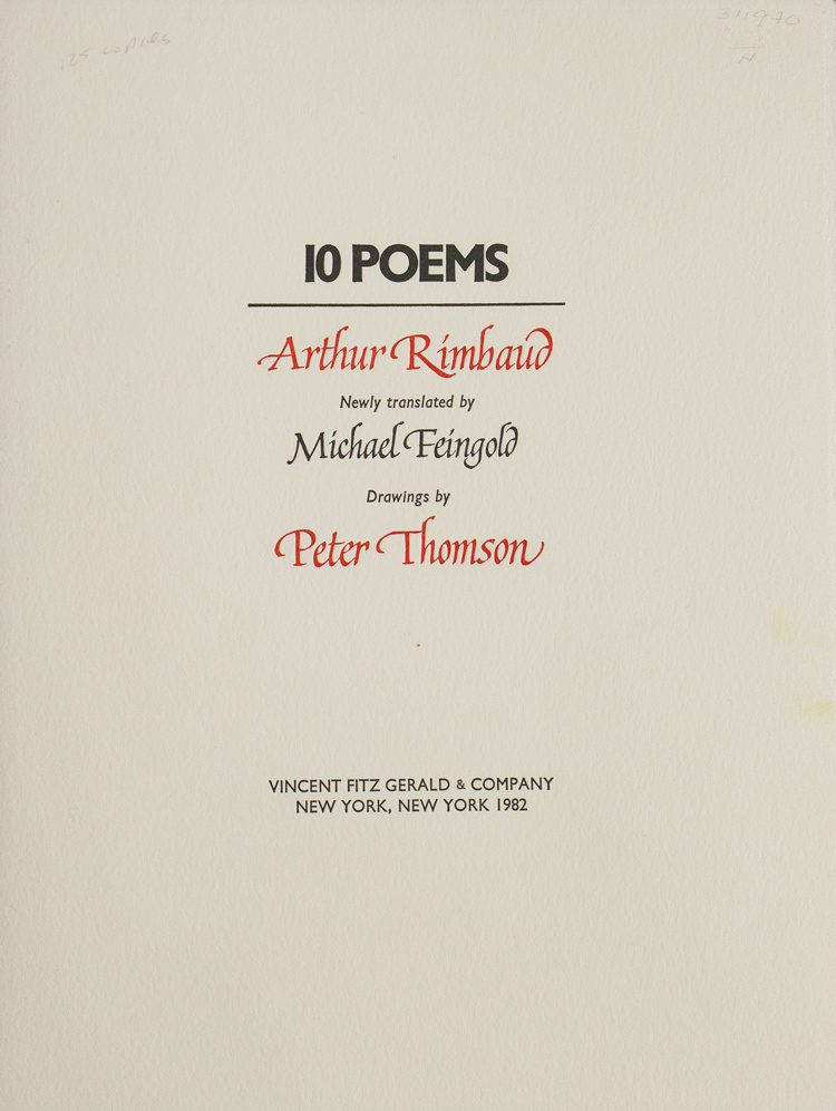 Ten Poems. Newly translated by Michael Feingold. Arthur Rimbaud.