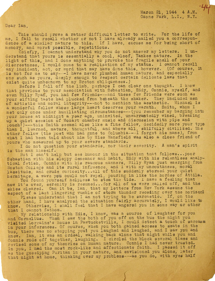 """Typed letter signed (""""Jack"""") in pencil, to Ian Macdonald. Jack Kerouac."""