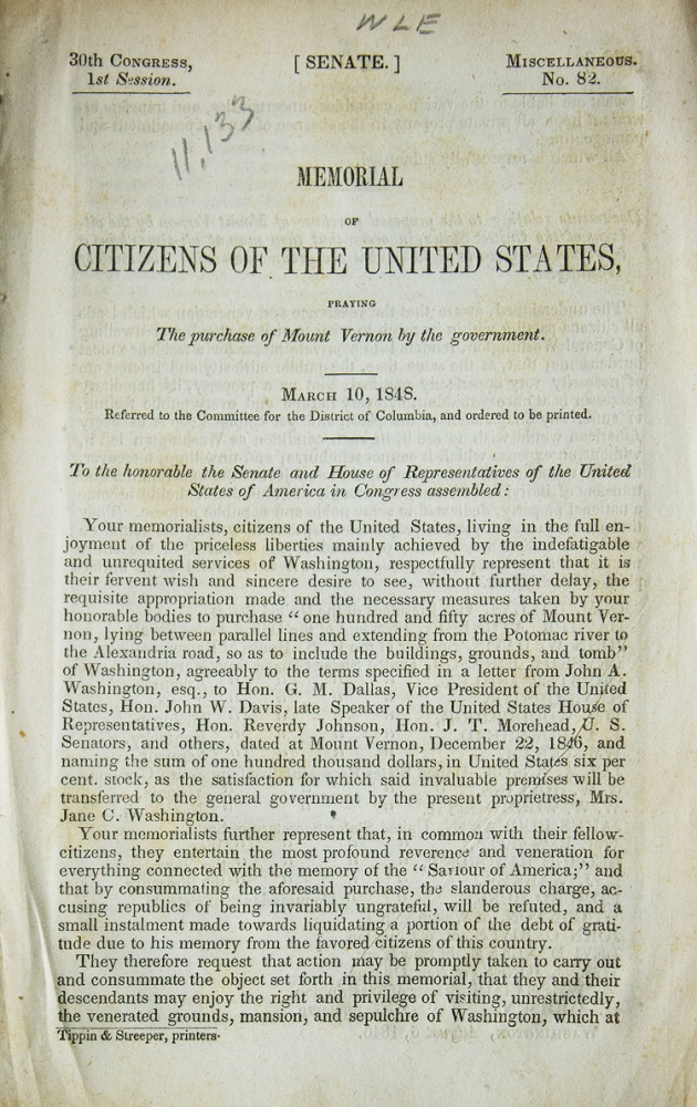 Memorial of Citizens of the United States, praying The Purchase of Mount Vernon by the government. Mount Vernon.