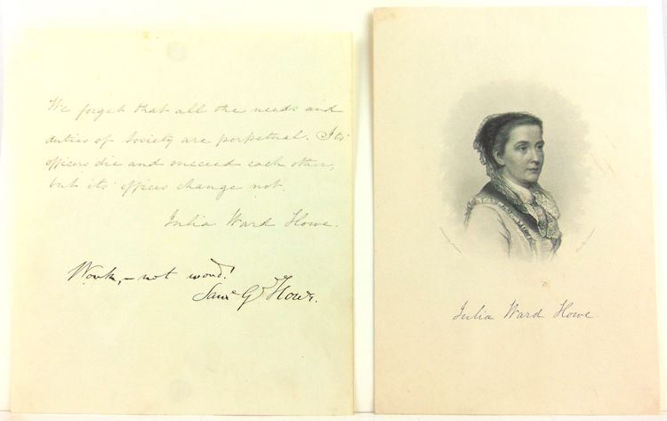 "Autograph quotes signed (""Julia Ward Howe"") and Samuel Gridley Howe (""Sam'l G Howe""). Julia Ward Howe."