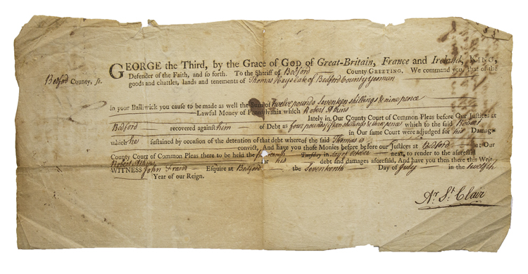 Document Signed for the recovery of a debt owed by Thomas Hayslack to Robert Atkins in Bedford County, Pa. Arthur St. Clair.