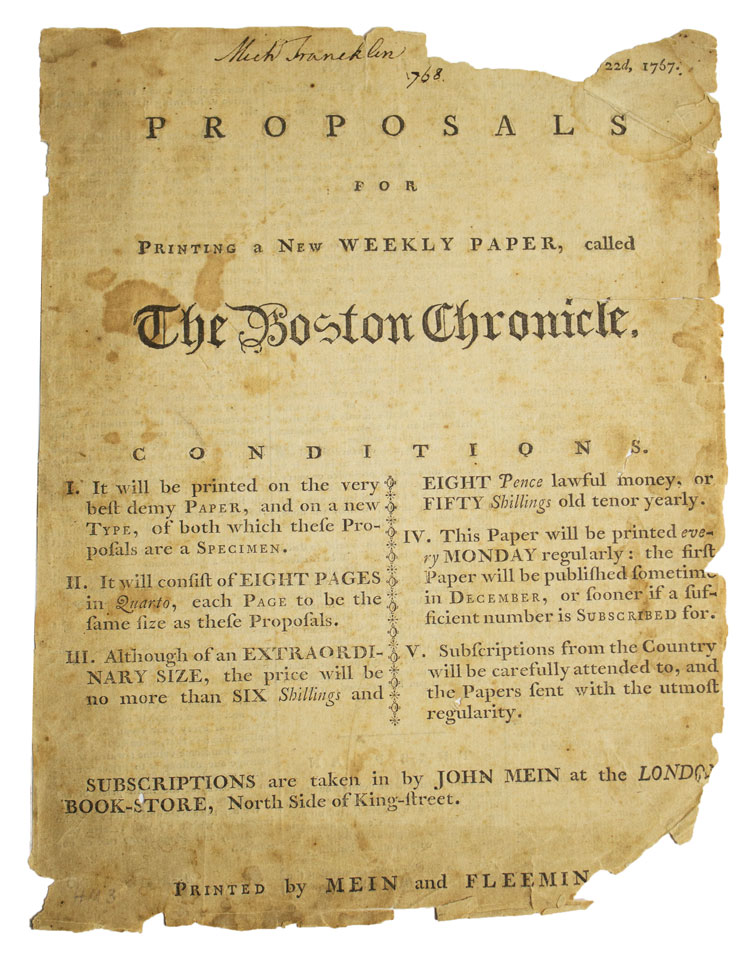 Proposals for Printing a New Weekly Paper, called The Boston Chronicle. Boston Chronicle.