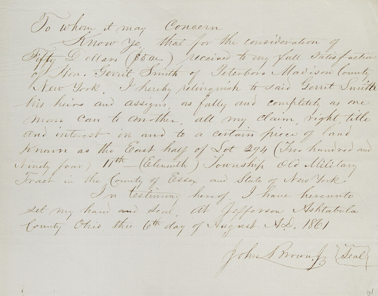 """Autograph letter signed (""""John Brown, Jr."""") to Gerrit Smith, with autograph document signed, both concerning land in Essex County, New York. John Brown, Jr."""