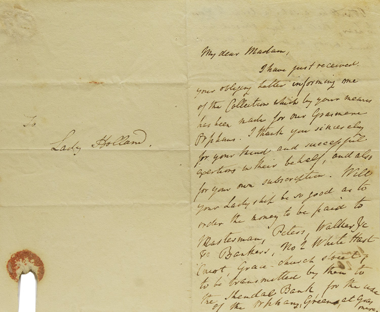 """Autograph letter signed """"W. Wordsworth"""" to Elizabeth Fox, Lady Holland, acknowledging her donation to the Grasmere orphans. William Wordsworth."""