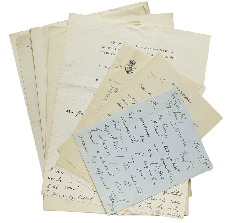 Archive of Correspondence concerning Elephant Hunting and Trophy Ivory hunted in Africa, addressed to George Frederick Kunz of New York, and used in his book Ivory and the Elephant in Art, in Archaeology, and in Science (1916). Ivory, George Frederick Kunz.