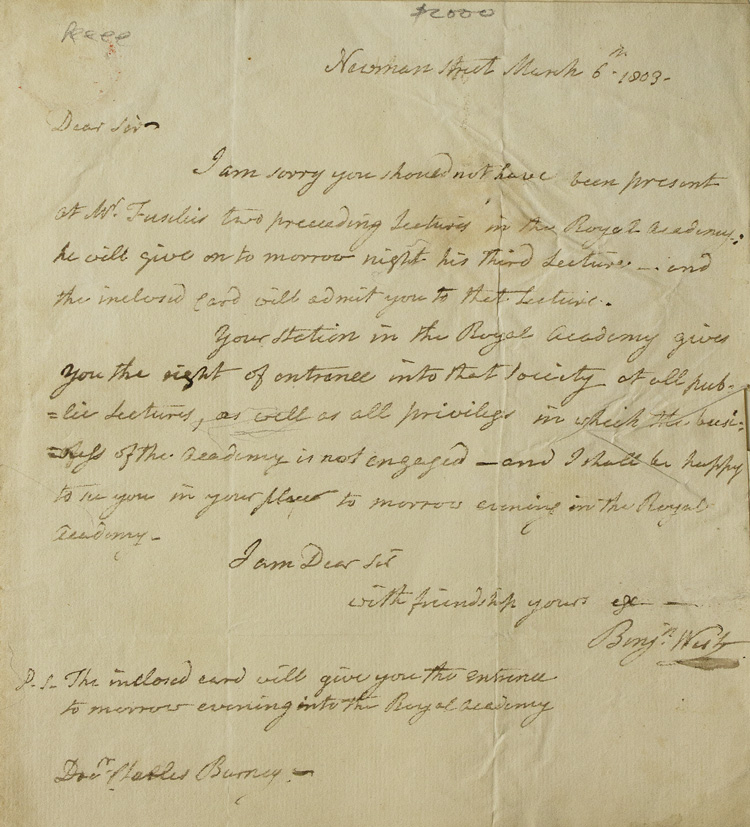 """Autograph letter signed (""""Benjn. West""""), to Charles Burney, Jr, regarding Fuseli's lectures to the Royal Academy. Benjamin West."""