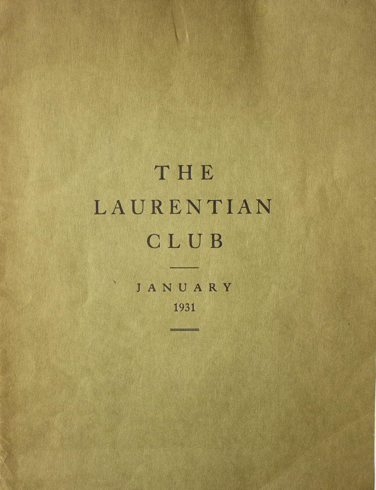 The Laurentian Club. Shareholders' Meeting of January 17th, 1931. Canada.
