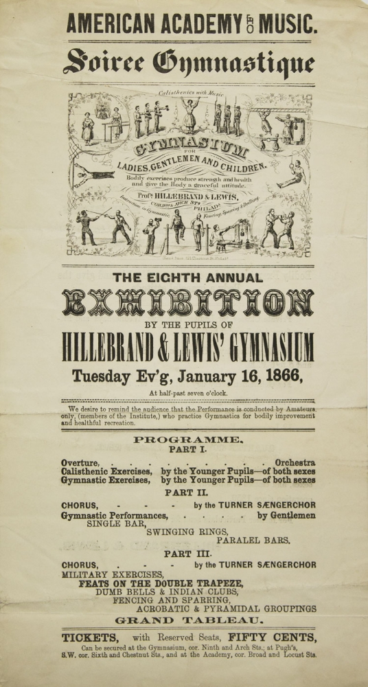 Soiree Gymnastique...Calisthentics with Music. Gymnasium for Ladies, Gentlemen and Children... Profs. Hillebrand & Lewis...The Eighth Annual Exhibition by the Pupils of Hiollebrand & Lewis' Gymnasium Tuesday Ev'g, January 16, 1866. American Academy of Music.