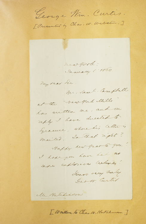 """Autograph letter signed """"Geo. W. Curtis"""" Ge Curtis, rge, illiam."""
