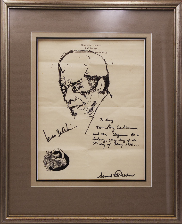 Pen and ink portrait of James Baldwin, signed by him at lower left. James Baldwin.