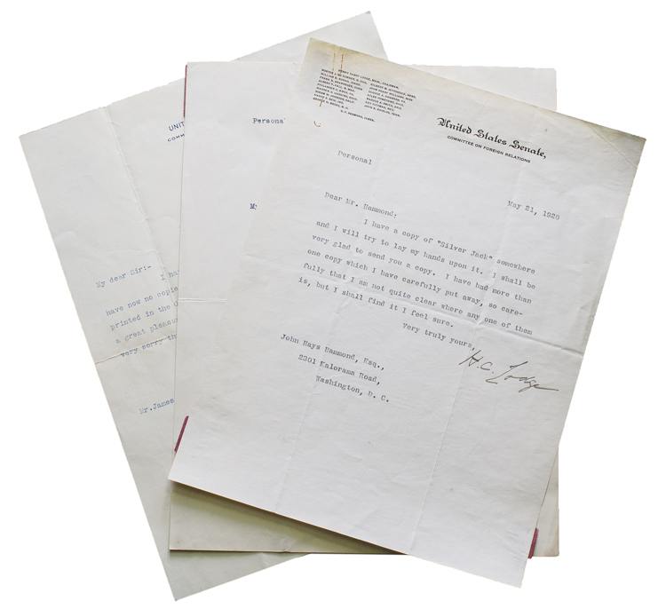 """3 typed letters signed (""""H.C. Lodge""""), two to John Hays Hammond and one to the assistant of Mrs. Hammond. Henry Cabot Lodge."""