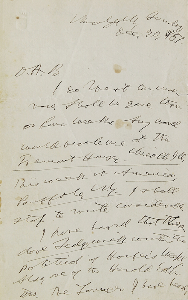 "Autograph Letter, signed (""Horace Greeley"") to Obidiah A. Bowie (""O.A.B.""). Horace Greeley."