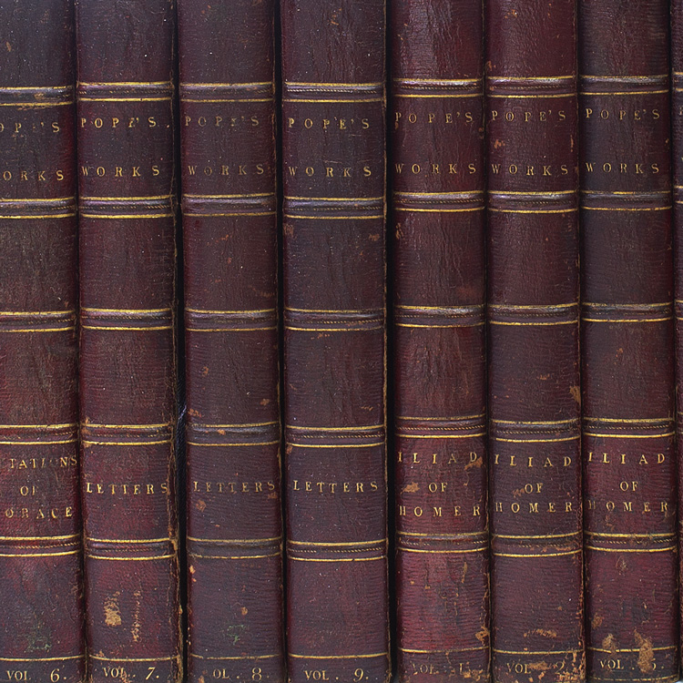 The Works of Alexander Pope, Esq. in Nine Volumes, Complete, withy Notes and Illustrations by Joseph Warton, D.D. and others WITH: His Translations of The Iliad and The Odyssey of Homer...A New Edition, with additional , critical and Illustrative by Gilbert Wakefield in 11 volumes printed by H. Baldwin for T. Longman, B. Law, et al. Alexander Pope.