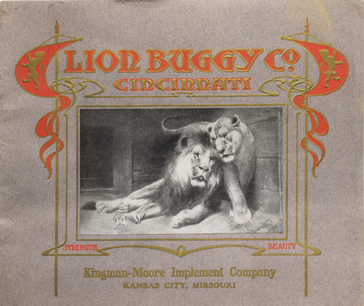 Lion Buggy Co. Cincinnati [upper cover]. Buggies.
