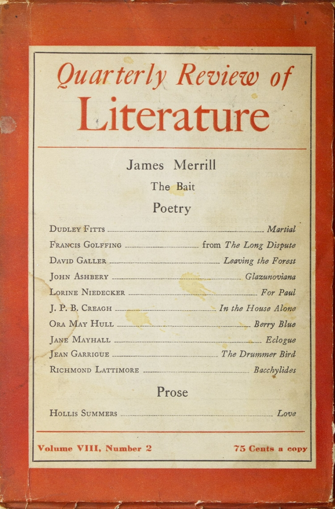 """""""The Bait"""" [in] Quarterly Review of Literature. Volume VIII Number 2. James Merrill."""