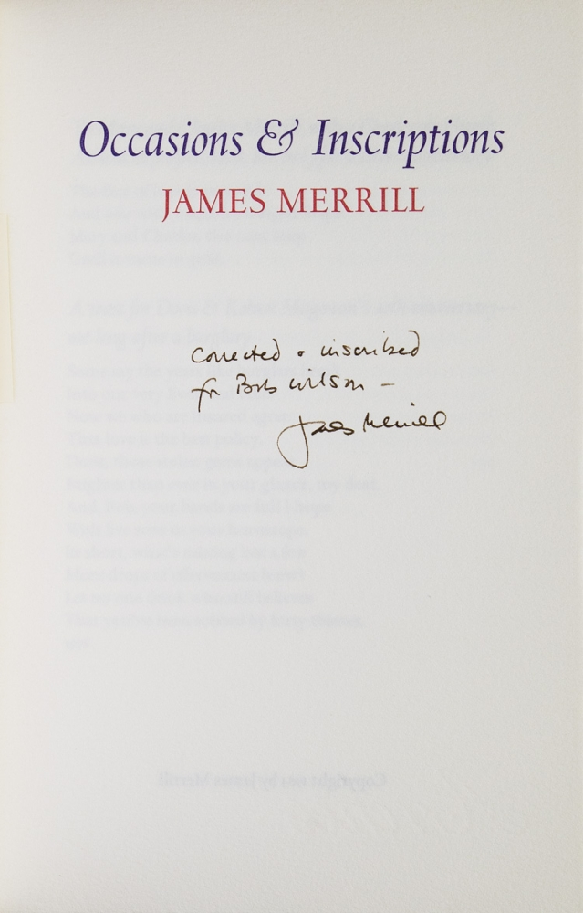Occasions & Inscriptions. James Merrill.
