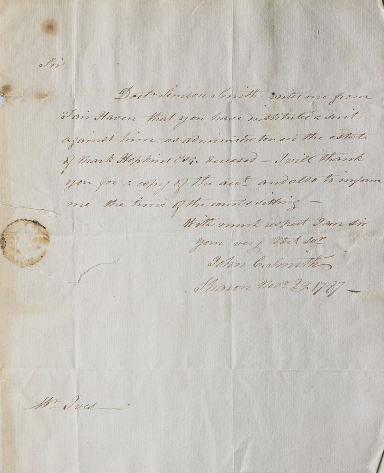 """Autograph letter signed (""""John C. Smith"""") to a Mr. Ives, Attorney at Law, requesting information on a case. John Cotton Smith."""