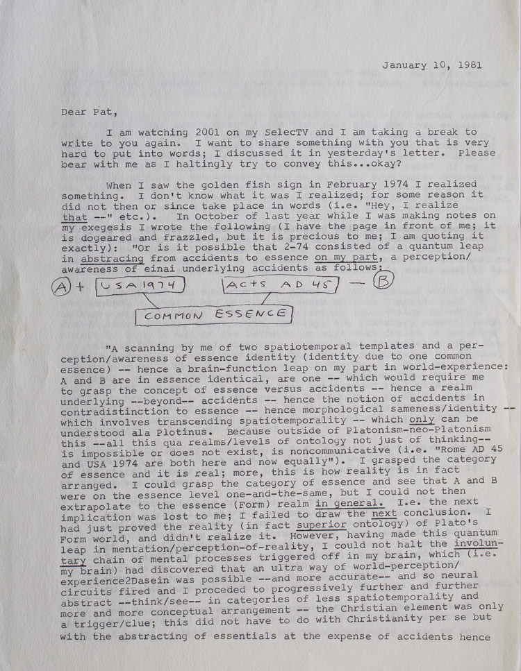"""Typed Letter, signed (""""Love, Phil""""), to """"Pat"""" [Patricia Warrick], 10 January 1981, on anamnesis and identity, the events of March 1974, and his novel Valis. Philip K. Dick."""
