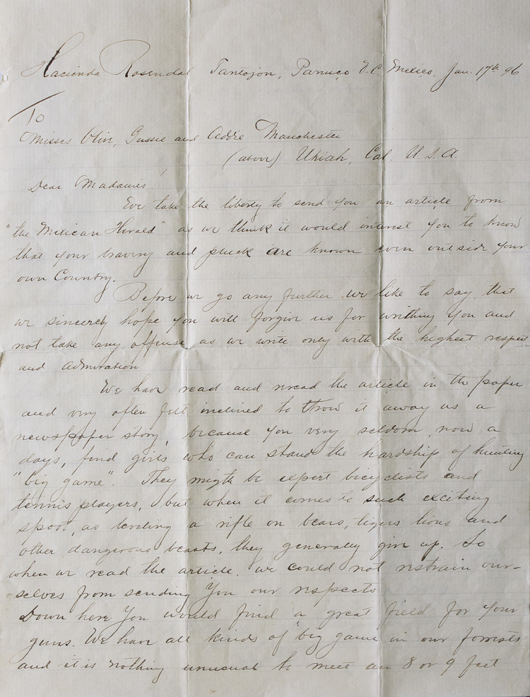 Autograph letter signed by Guido de Voltaire, Edward Thimgren & A. Rahm, to the sisters Olive, Gussie and Addie Manchester, of Ukiah, California, in response to an article about the latter's prowess at hunting. Hunting, Women.