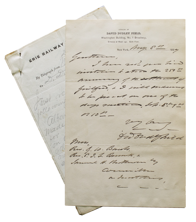 Autograph letter signed David Dudley Field accepting invitation to 250th  anniversary celebration of Guilford, Connecticut by David Dudley Field, II  on