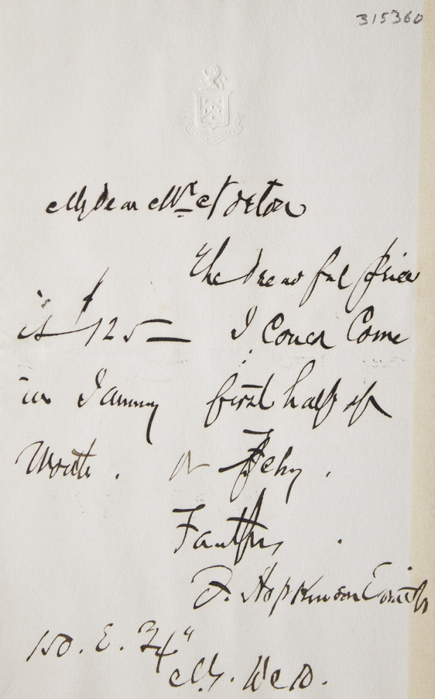 "Autograph note signed (""F. Hopkinson Smith"") to (""My Dear Mr. Norton"") quoting a lecture price of $125. Francis Hopkinson Smith."
