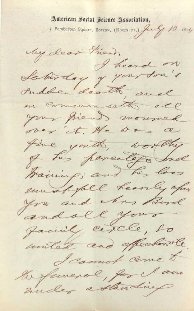 "Autograph letter signed (""F.B. Sanborn"") to Francis William Bird (""My dear Friend""). Abolitionist, Franklin Benjamin Sanborn."