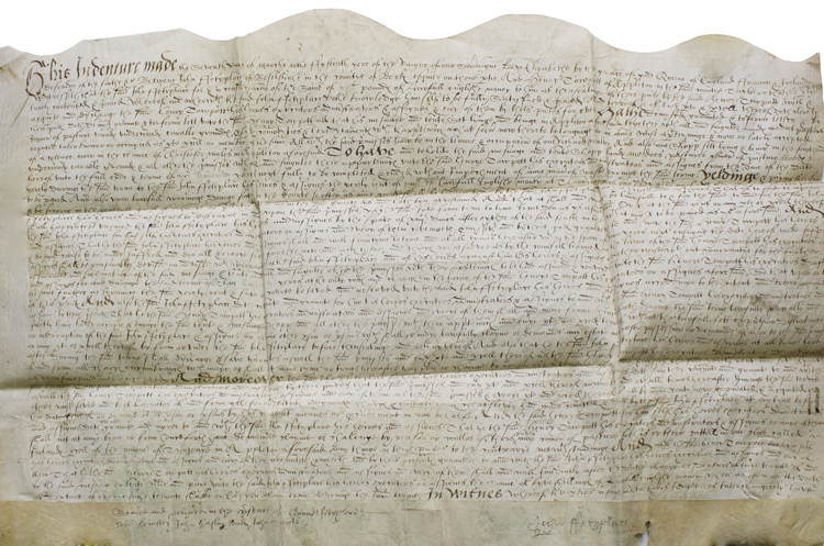 Manuscript indenture of demise from John Fetyplace, gentleman of Beselslight to Henry Towpott of Appleton. John Fetyplace, Henry Towpott.