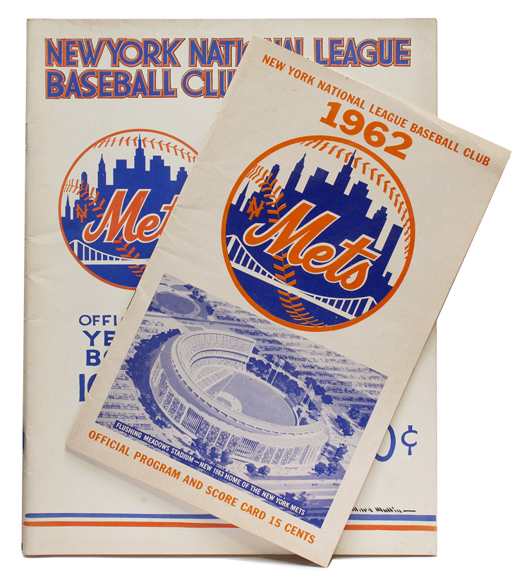 Mets First Home Game Program at the Polo Grounds April 13, 1962. [WITH:] Mets First Year Book 1962. Mets.