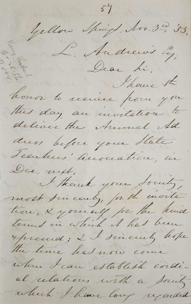 """Autograph letter signed (""""Horace Mann""""), to L. Andrews, accepting the invitation of the Ohio Teachers of Common Schools. Horace Mann."""