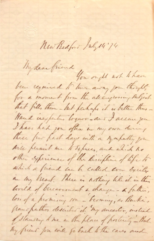 "Autograph letter signed (""John H. Clifford"") to F.W. Bird (""My Dear Friend"") offering condolences for the death of Brid's son. John Henry Clifford."