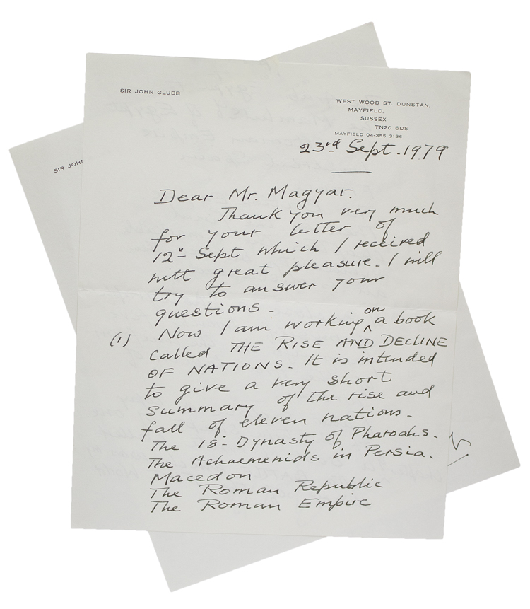 """Autograph Letter, signed (""""Glubb""""), discussing his writing, and conveying a carbon typescript, """"The Diary Chapter I. Zillebeke"""" and photograph, to Mr. [Lazlo] Magyar. Sir John Bagot Glubb."""
