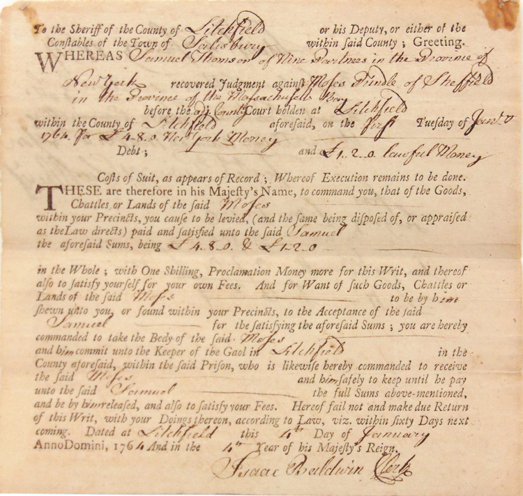 """Autograph document signed (""""Oliver Wolcott"""") as sheriff of the County of Litchfield, Connecticut, also signed (""""Isaac Baldwin"""") as Clerk of the County. Signer of the Declaration of Independence, Oliver Wolcott."""