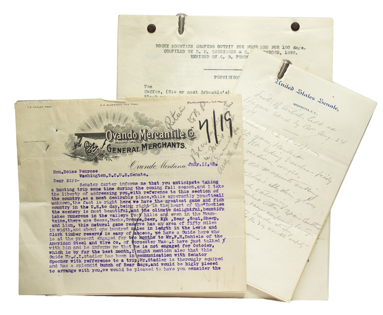 """[Three items related to Boise Penrose's Rocky Mountain hunting expeditions, including an autograph manuscript list, signed with initials, of articles left at Hayes Ranch, a typed letter signed to Penrose from an Ovando Montana outfitter, and a typescript prepared by his brother C. B. Benrose of """"Rocky Mountain Camping Outfit for four men for 100 days"""" Boies Penrose."""