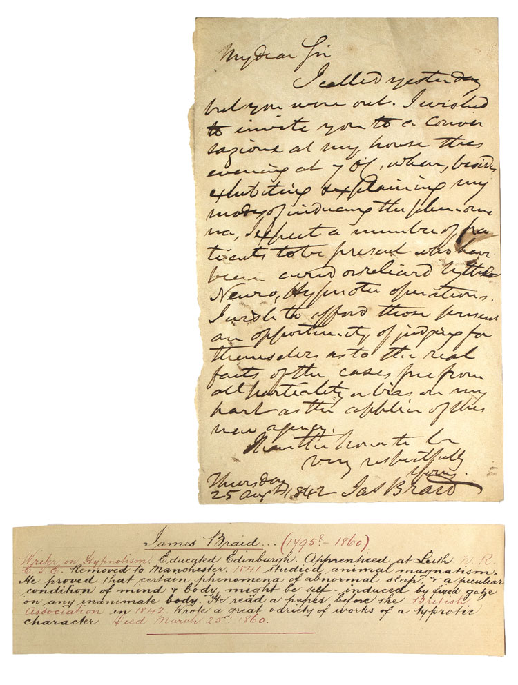 """Autograph Letter, signed (""""Jas Braid""""), an invitation to a conversazione on Neuro Hypnotic operations. James Braid."""