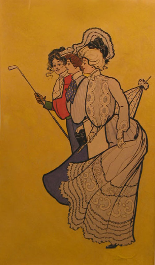 Original watercolor of three young ladies in turn of-the-century fashions, one of whom holds a golf club and has on her stock tie a design of crossed clubs. Golf.