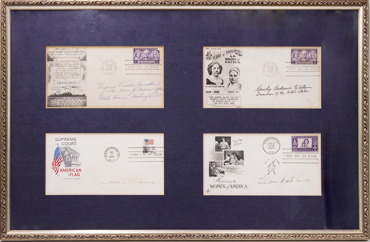 A group of four first day covers signed by prominent American Conservative women. Sandra Day O'Connor.