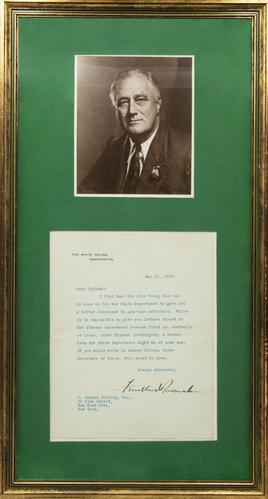 """Typed letter, Signed (""""Franklin D. Roosevelt""""), as president, on White House stationery, to C. Suydam Cutting. Tibet, Franklin D. Roosevelt."""