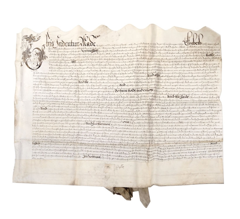 Manuscript Indenture from the reign of Queen Elizabeth I. Thomas Fettiplace, Richard Black.
