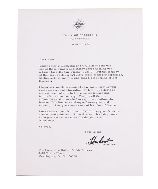 Archive of 13 Typed Letters, signed, to Robert and/or Margaret McNamara, including a heartfelt letter on the death of Robert Kennedy. Hubert Humphrey.