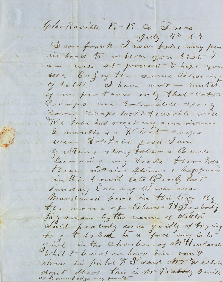 Autograph letter, signed, describing a gun fight and murder of a man after he had attempted to sleep with a free mulatto woman in another man's house. Texas, James C. Whitaker.