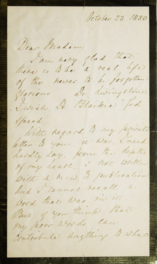 """Autograph letter, signed (""""Florence Nightingale""""), to explorer David Livingstone's daughter Mrs. Livingstone Bruce, praising her father and agreeing to be quoted in a to be published biography on Dr. Livingstone. Florence Nightingale."""