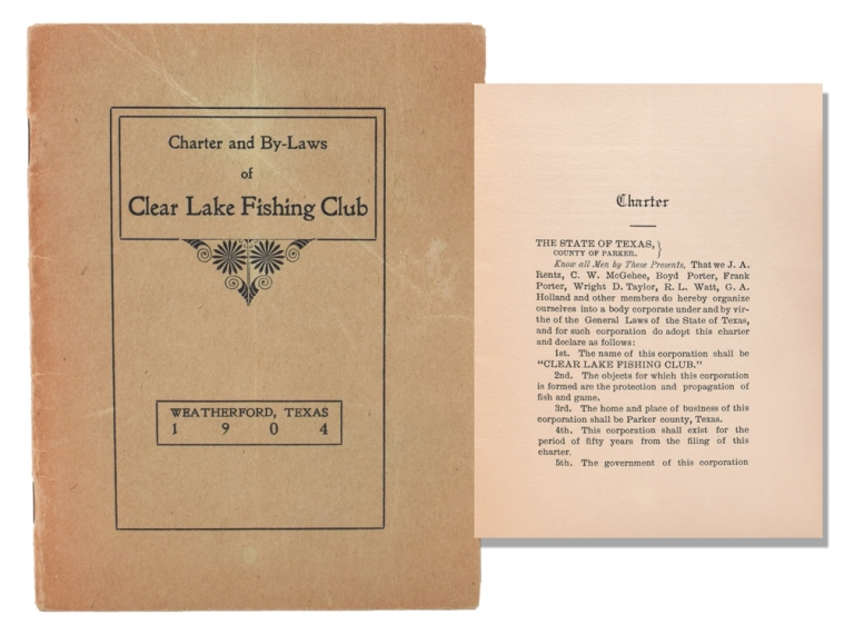 Charter and By-Laws of Clear Lake Fishing Club [Cover title]. Texas.