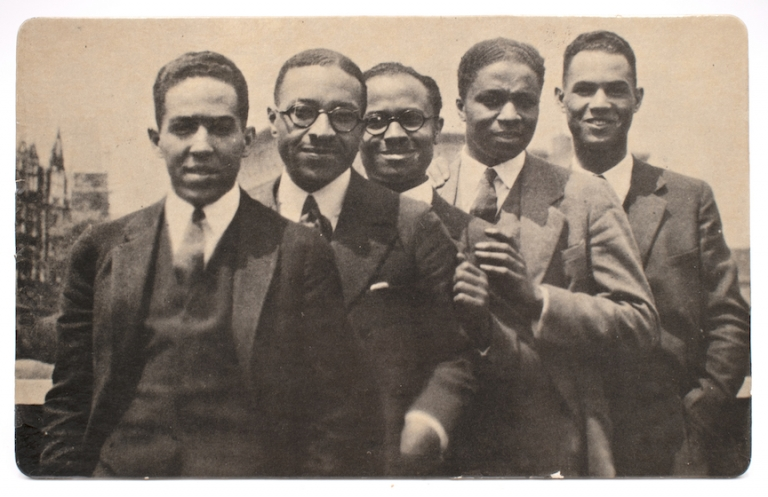 Poets and Heroes 1924 [photographic postcard, image of Langston Hughes, Charles S. Johnson, E. Franklin Frazier, Rudolph Fisher and Hubert Delany]. African Americana, Regina Andrews, photographer.