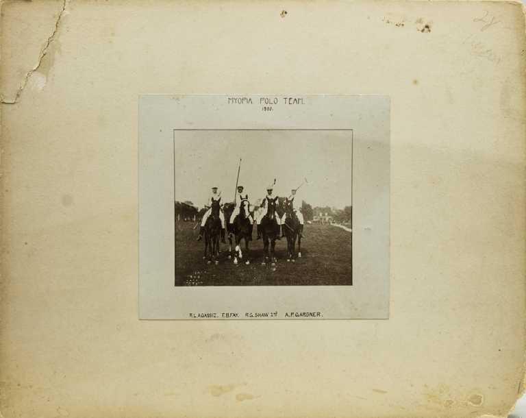 Myopia Polo Team 1895: Contemporary copy of the original photograph in its lettered mat. Polo.