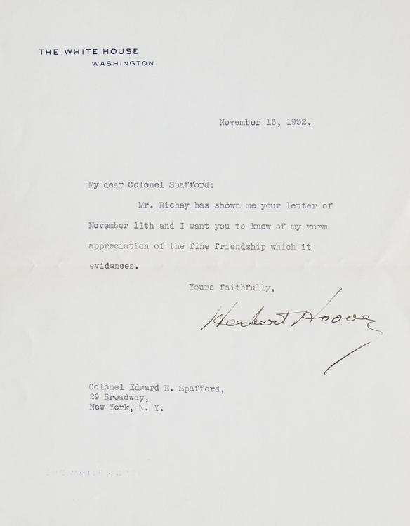 Typed Letter Signed, on White House Stationery, to Edward E. Spafford. Herbert Hoover.