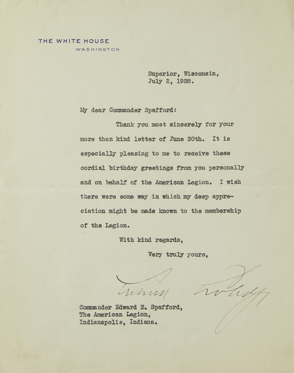Typed Letter Signed, on White House Stationery, to Edward E. Spafford. Calvin Coolidge.