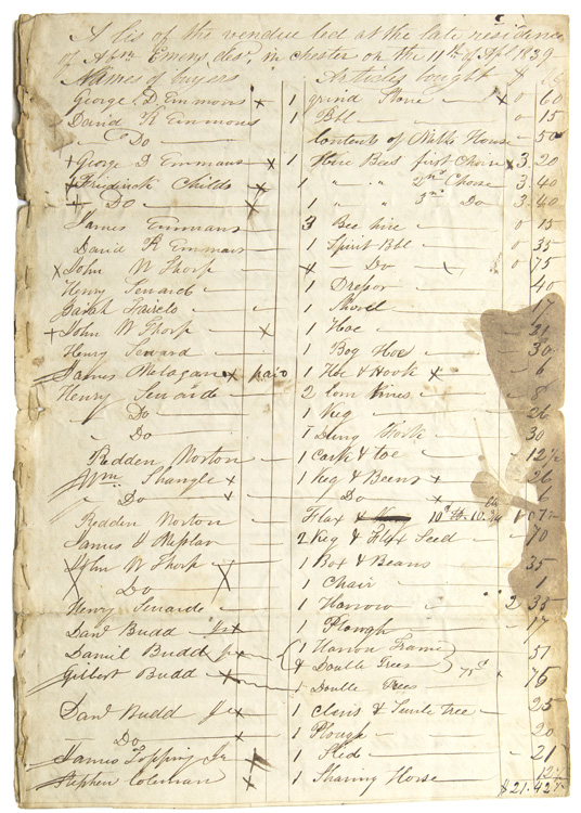 """Manuscript of """"A lis (sic) of the vendue led at the late residence of Abn. Emens, des. in Chester (N.J.) on the 11th of April 1839."""" New Jersey Auction."""