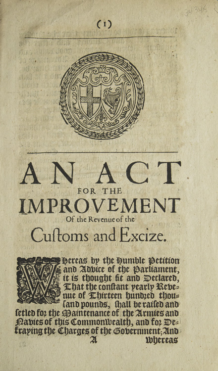 An Act for the Improvement of the Revenue of the Customs and Excize. England: Parliament.